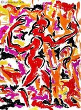 Jacqueline DITT - Estampe-Multiple - Feuerteufel (Firedevil) 1/1 Originalgrafik Unikat