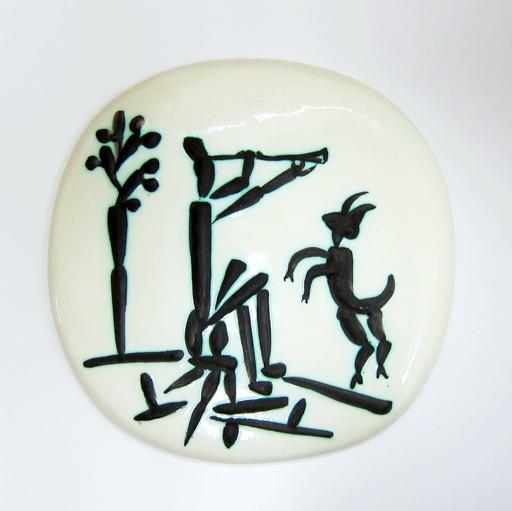 巴勃罗•毕加索 - 陶瓷  - Joueur de flûte et Chèvre