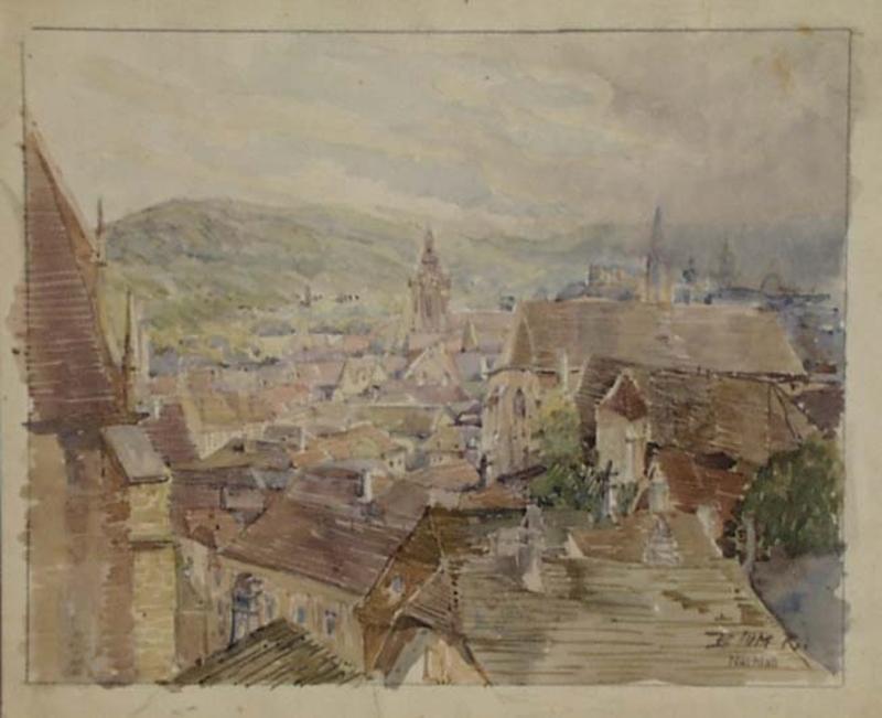 """Rudolf BLUM - Zeichnung Aquarell - """"View of Brno"""" by Rudolf Blum, ca 1920"""