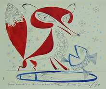 Janos KASS - Dibujo Acuarela - Fox and Fish