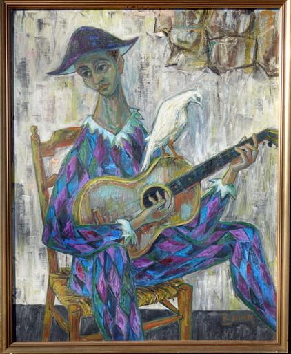 """Robert DEBIEVE - Peinture - """"L'Arlequin a la Colombe"""""""