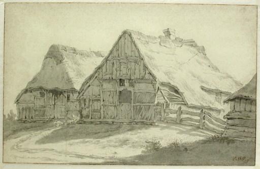 Egbert VAN DRIELST - Drawing-Watercolor - Two Farmhouses