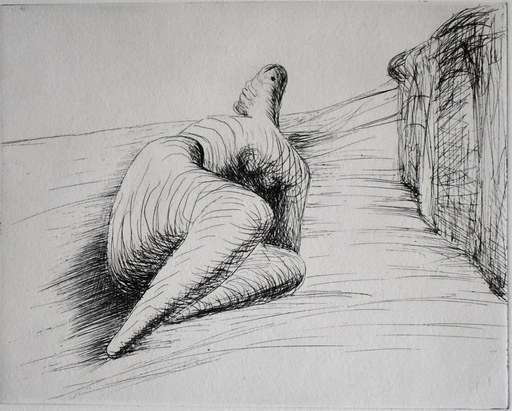 Henry MOORE - Stampa Multiplo - Curved Reclining Figure in Landscape II