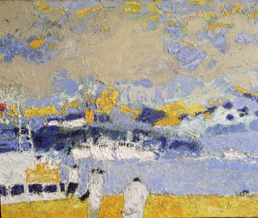 Jacques PEYRONNET - Pintura - Navires au port - Norvège