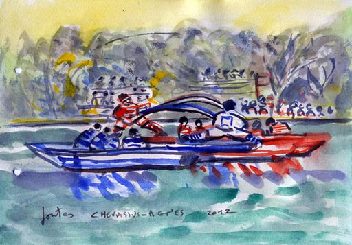 Jean-Pierre CHEVASSUS-AGNES - Dessin-Aquarelle - jouteurs à la Roche de GLUN ( Drôme )