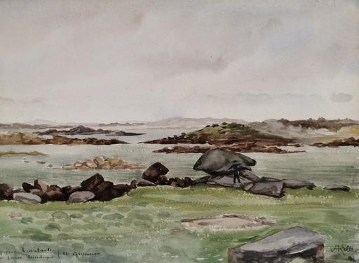 Alfred KELLER - Dibujo Acuarela - Ile Guennoc - Pierre branlante - Pierre Druidique - (KP30)