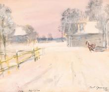 Nikolai Petrovich KRIMOV - Drawing-Watercolor - Winter in the Village