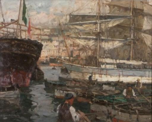 Leonhard SANDROCK - Pintura - Im Hafen von Genua