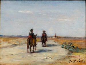 "Gustave Henri COLIN - Painting - ""CHEMIN AUX MULES, VIEILLE CASTILLE"""