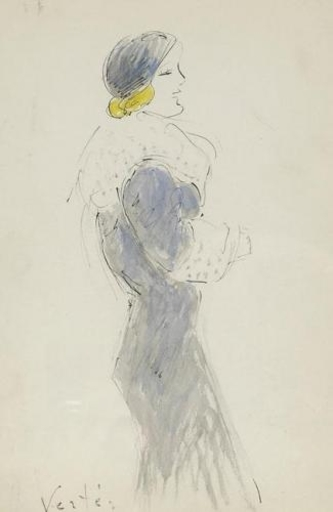 Marcel VERTES - Drawing-Watercolor - Elegant Woman