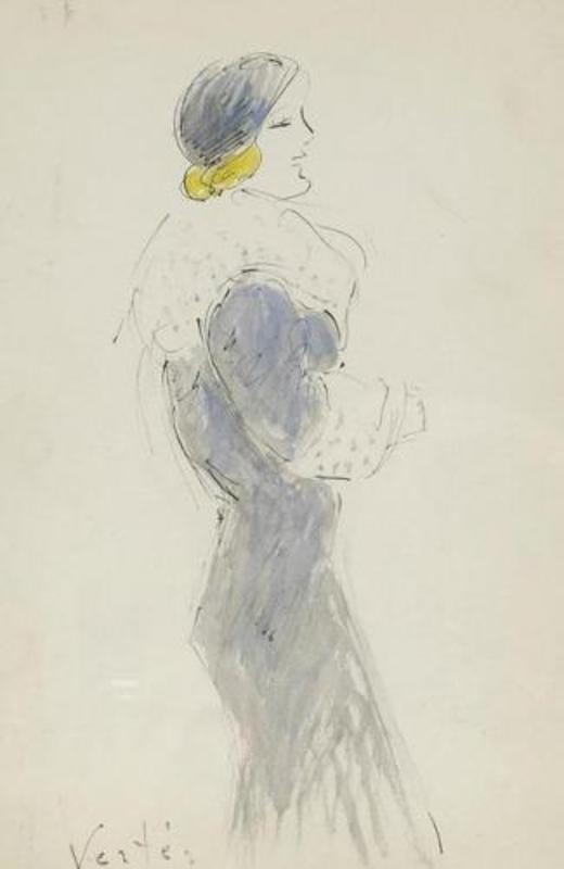 Marcel VERTES - Drawing-Watercolor - Elegant Woman