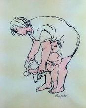 Frank KLEINHOLZ - Radierung Multiple - Mother Dressing Child