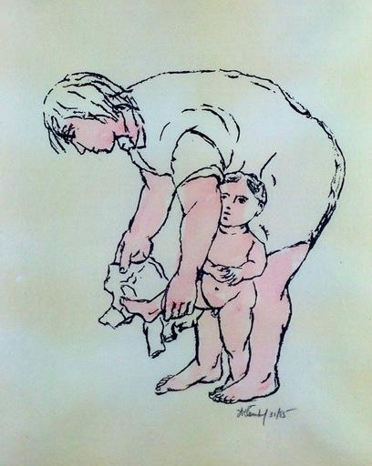 Frank KLEINHOLZ - Estampe-Multiple - Mother Dressing Child