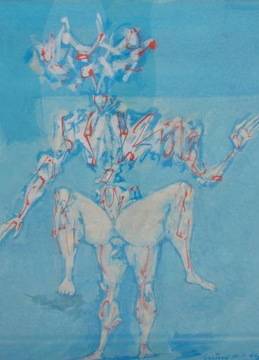 Lucien COUTAUD - Dibujo Acuarela - Personnages surréalistes