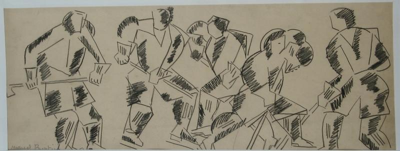 Marcel BURTIN - Drawing-Watercolor - LE HOCKEY 1