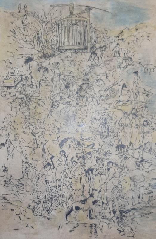Jean-Gaston MANTEL - Dibujo Acuarela