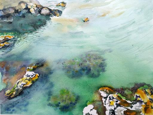 "Galina VINDALOVSKAIA - Drawing-Watercolor - ""Under the Sea Rock"" realistic seascape"