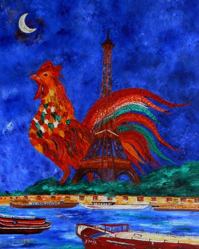 """Marie-France BUSSET - Gemälde - LE COQ """"M"""" LA TOUR EIFFEL A PARIS"""