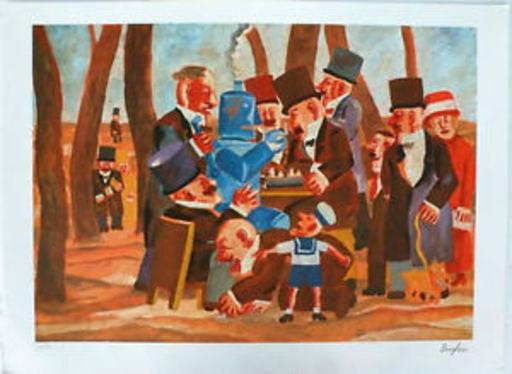 Franz BORGHESE - Grabado - Partita a scacchi