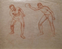 """Hugo SCHEYRER - Drawing-Watercolor - """"Male Nude Studies"""", Early 20th Century"""