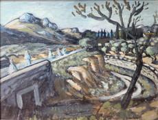 Auguste CHABAUD - Painting - Pères blanc sur la route de Frigolet