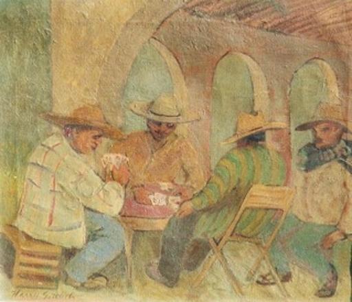 Harry GOTTLIEB - Peinture - Card Players