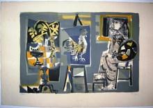 Antoni CLAVÉ - Grabado - Woman painter and acock