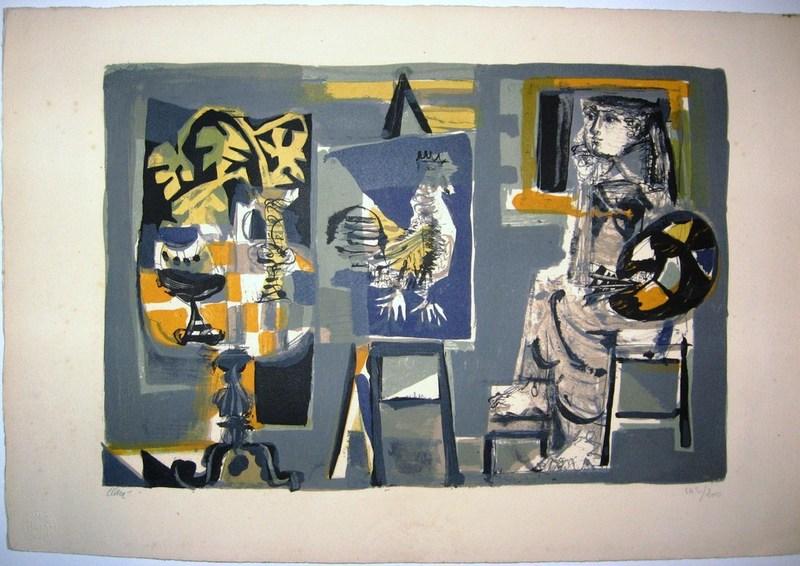 Antoni CLAVÉ - Print-Multiple - Woman painter and acock