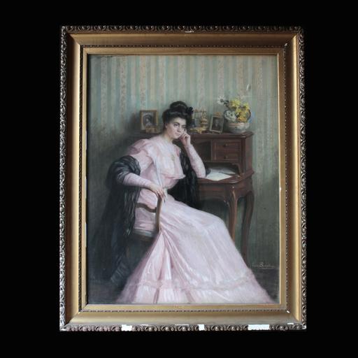 Louise Laure BEAUFEREY - Drawing-Watercolor - Femme pensive accoudée à son bureau
