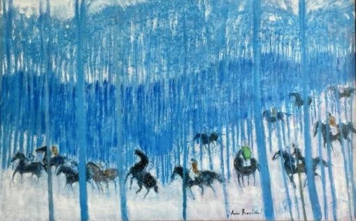 André BRASILIER - Peinture - Cavalcade au bois bleu