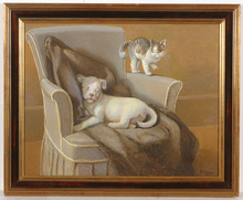 "George Frederik KABER - Painting - ""Puppy and kitten"", oil painting, late 1930s"