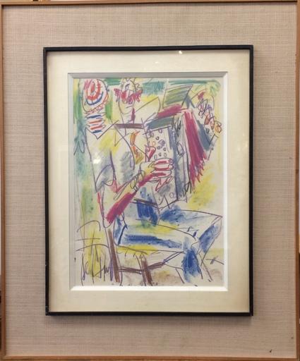 GEN PAUL - Drawing-Watercolor - L'accordéoniste