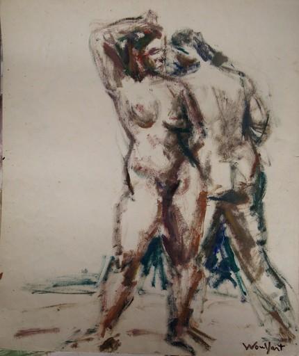 """Marius WOULFART - Dibujo Acuarela - """"DEUX NUS A LA PLAGE"""""""