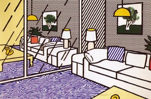 Roy LICHTENSTEIN, Wallpaper with Blue Floor Interior