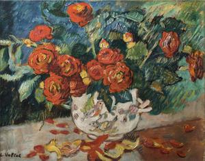 Louis VALTAT - Gemälde - Fleurs, vase à l'oiseau