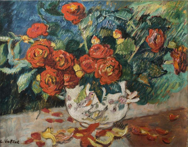 Louis VALTAT - Painting - Fleurs, vase à l'oiseau