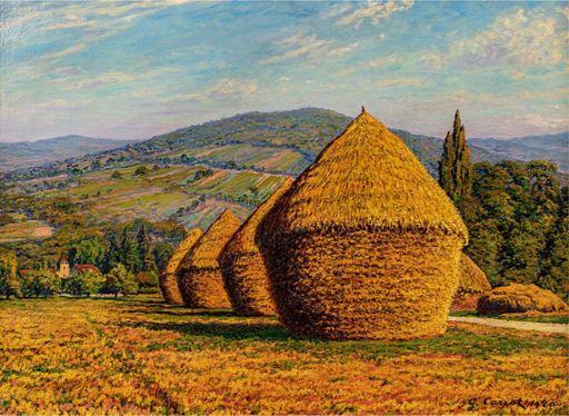 Gustave CARIOT - Painting - Les meules près du village