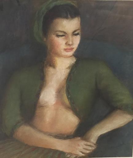 Pierre DEVAL - Dessin-Aquarelle - Jeune fille au boléro vert