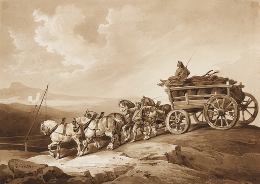 Théodore GÉRICAULT - Drawing-Watercolor - Le Chariot à charbon