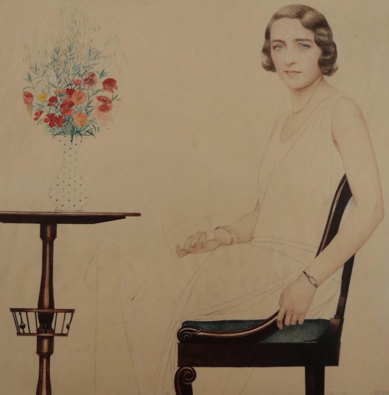 贝尔纳·布泰·德·蒙维尔 - 水彩作品 - Portrait de Lise de Brissaud
