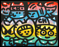CHANOIR - Peinture - Sunset Cats