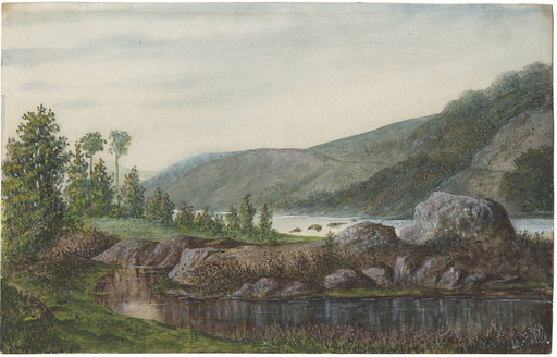 George SAND - Dibujo Acuarela - Landscape with River and Mountains