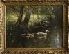 Constant ARTZ - Gemälde - Landscape with duck family on the river
