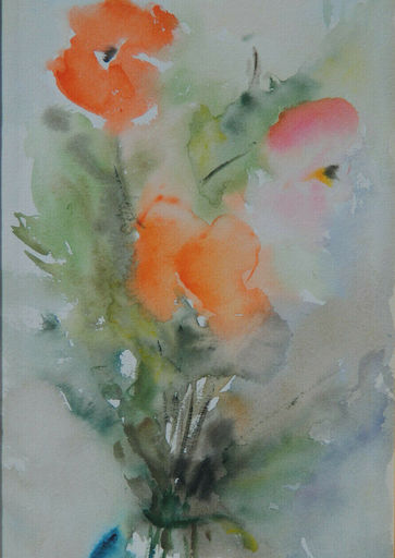 Marina GREKOFF - Zeichnung Aquarell - NATURE MORTE AUX FLEURS