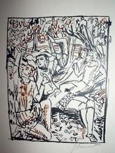 Raphaël DROUART - Dibujo Acuarela - SOUS LES POMMIERS