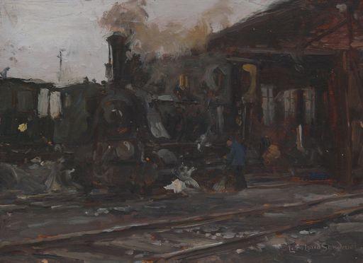 Leonhard SANDROCK - Painting - Lokomotive vor Lokomotivschuppen