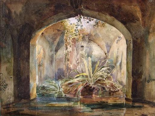 Ercole GIGANTE - Dibujo Acuarela - intérieur de therme antique