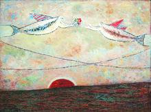 Kattingeri Krishna HEBBAR - Pintura - Romance Of The Rockets 1986