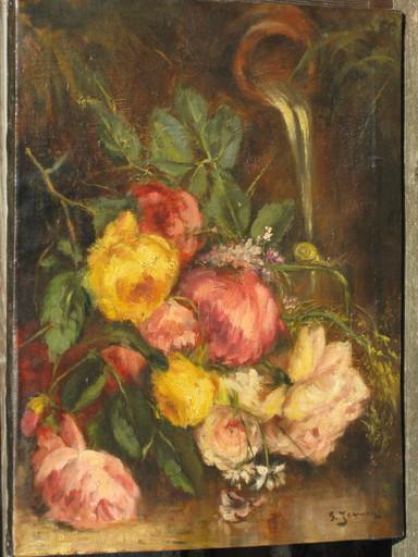 Georges JEANNIN - Pintura - Blumenstilleben mit Brunnen und Schnecke