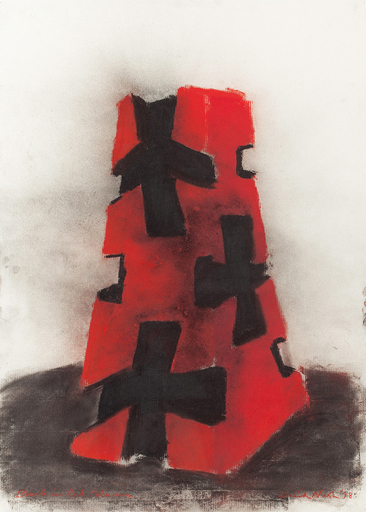 David NASH - Dessin-Aquarelle - Black and Red Column